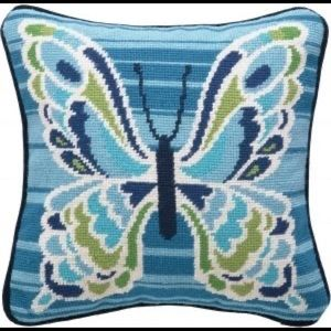 Trina Turk Mariposa Blue Needlepoint Pillow